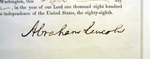 Draft Order from the American Civil War, Detail B, Lincoln Signature